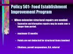 policy 501 food establishment improvement program