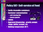 policy 507 self service of food