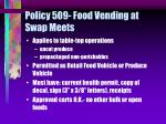 policy 509 food vending at swap meets