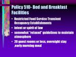 policy 510 bed and breakfast facilities