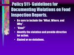 policy 511 guidelines for documenting violations on food inspection reports