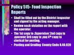 policy 515 food inspection reports