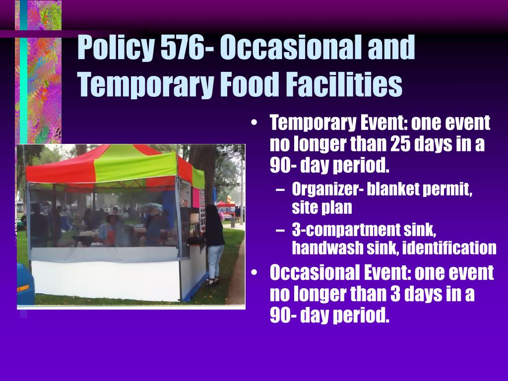 Policy 576- Occasional and Temporary Food Facilities