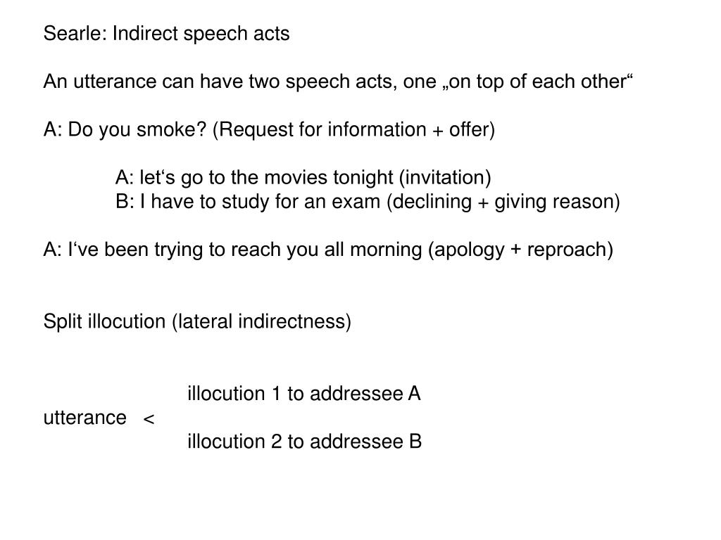 Searle: Indirect speech acts