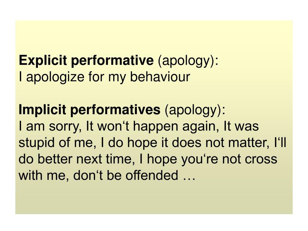 Explicit performative
