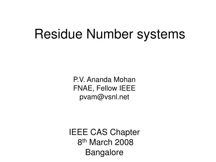 residue number systems n.