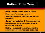 duties of the tenant