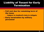 liability of tenant for early termination