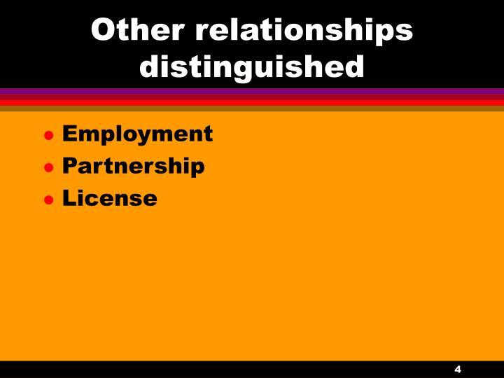 Other relationships distinguished