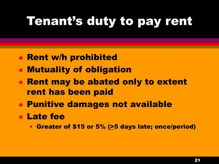 Tenant's duty to pay rent