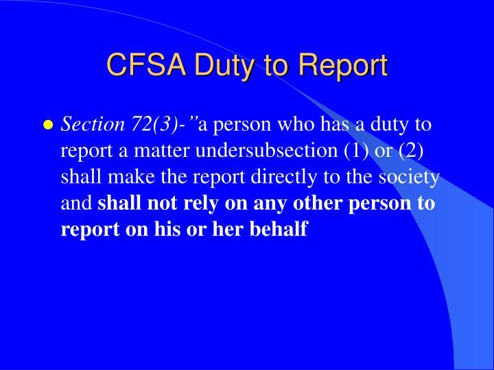 CFSA Duty to Report