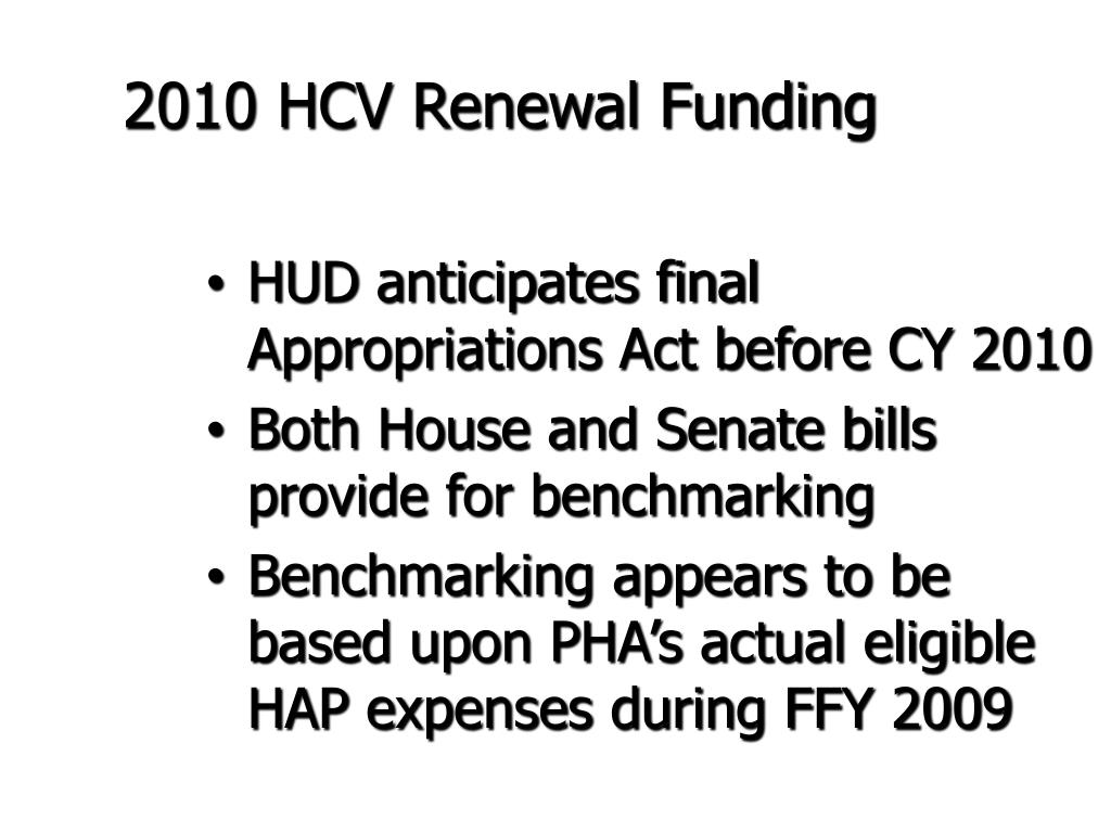 2010 HCV Renewal Funding