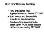 2010 hcv renewal funding