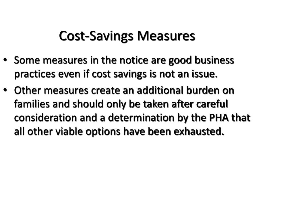 Cost-Savings Measures