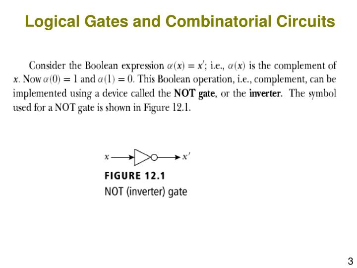 Logical gates and combinatorial circuits