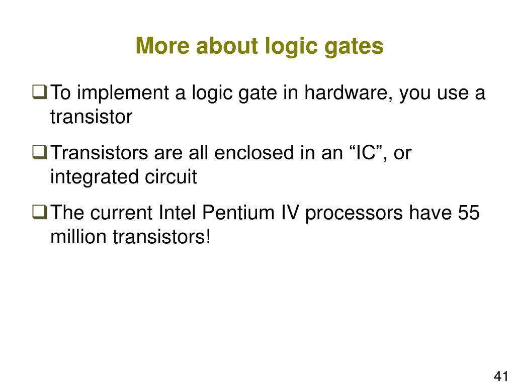 More about logic gates