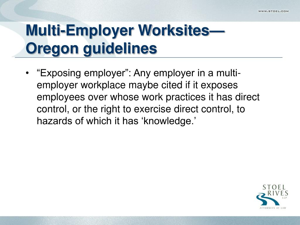 Multi-Employer Worksites—Oregon guidelines