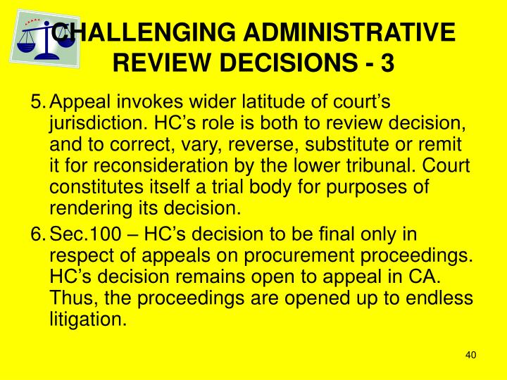 CHALLENGING ADMINISTRATIVE REVIEW DECISIONS - 3