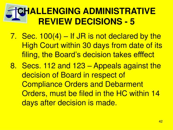 CHALLENGING ADMINISTRATIVE REVIEW DECISIONS - 5