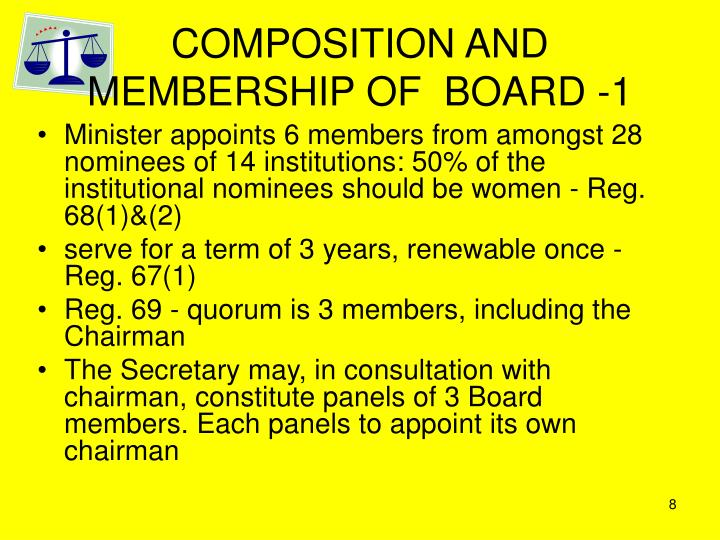 COMPOSITION AND MEMBERSHIP OF  BOARD -1