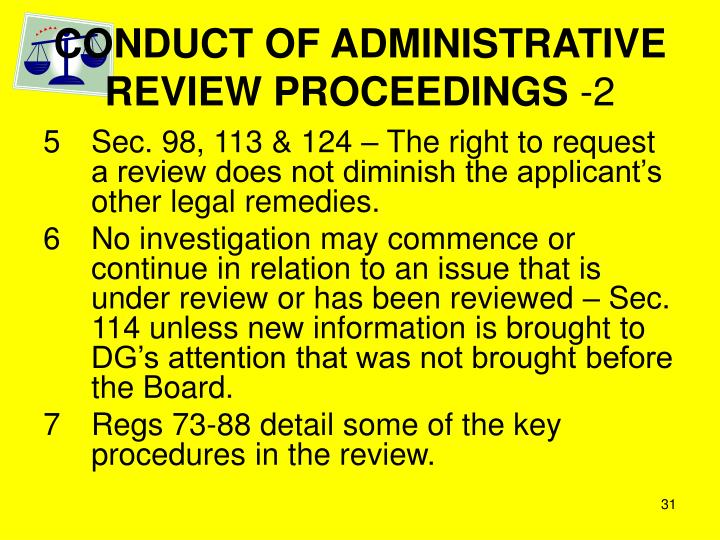 CONDUCT OF ADMINISTRATIVE REVIEW PROCEEDINGS