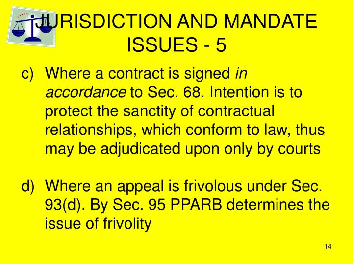 JURISDICTION AND MANDATE ISSUES - 5