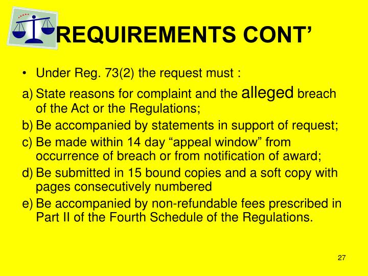 REQUIREMENTS CONT'