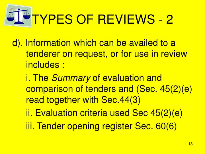 TYPES OF REVIEWS - 2