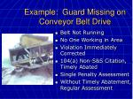 example guard missing on conveyor belt drive