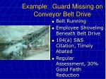 example guard missing on conveyor belt drive47