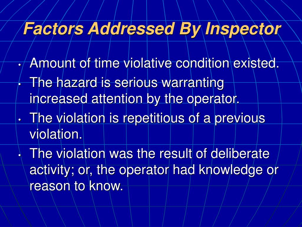Factors Addressed By Inspector
