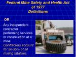 federal mine safety and health act of 1977 definitions11