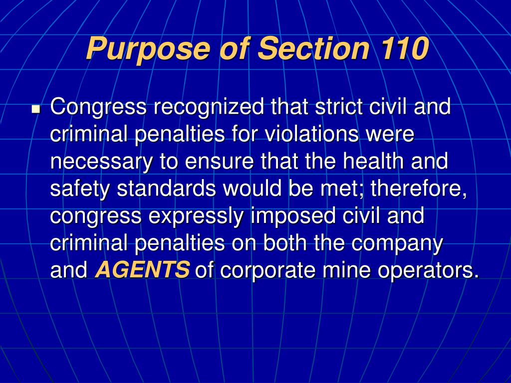Purpose of Section 110