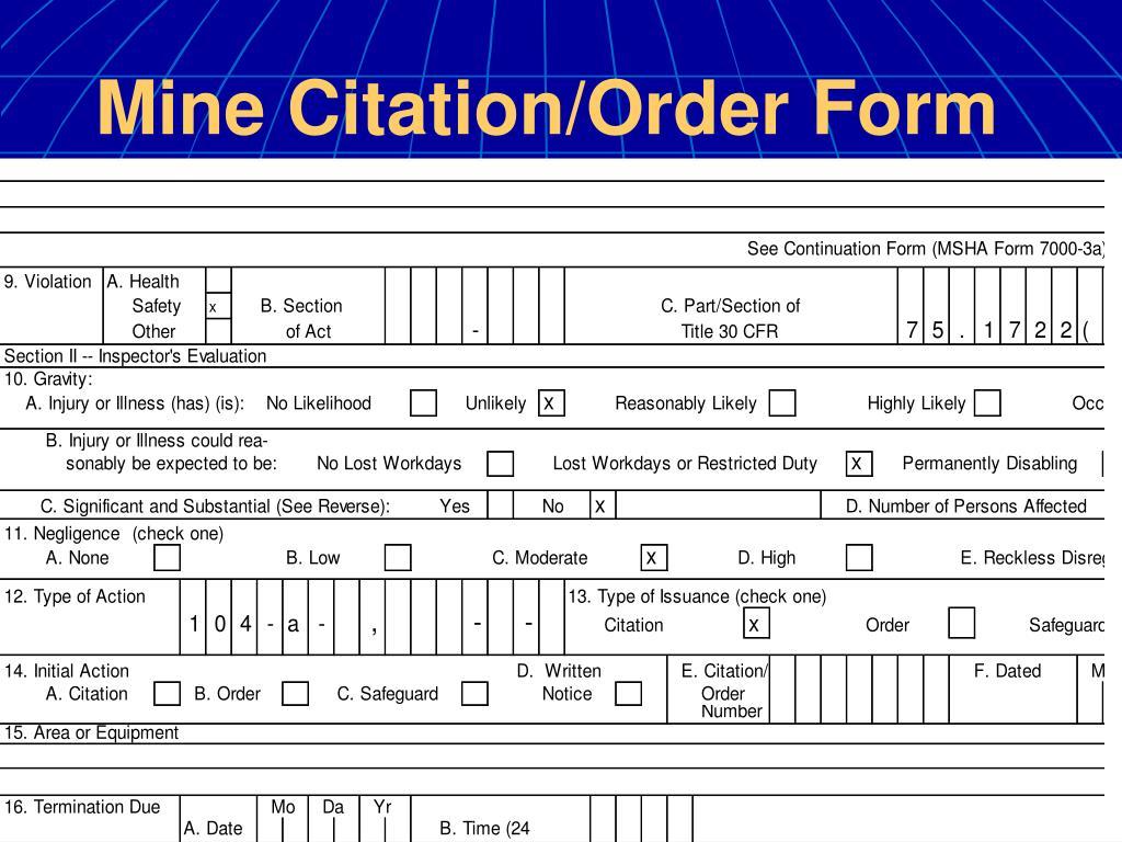 Mine Citation/Order Form