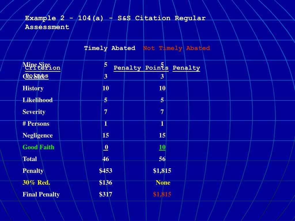 Example 2 - 104(a) - S&S Citation Regular Assessment