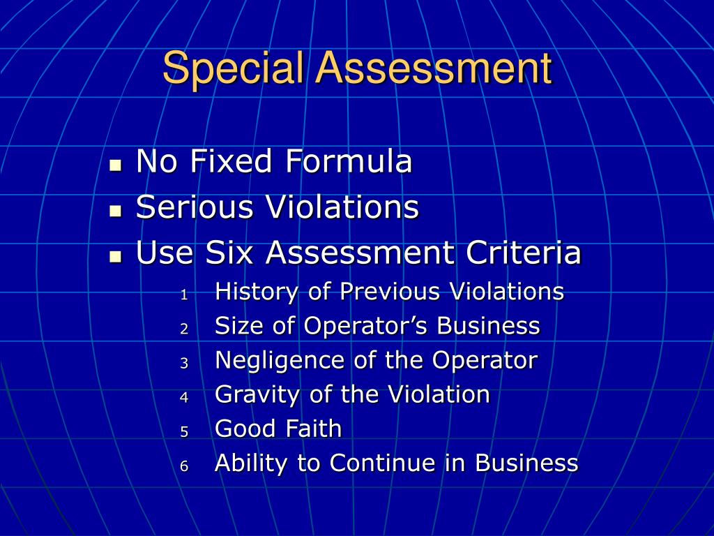 Special Assessment