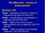 the mine act levels of enforcement