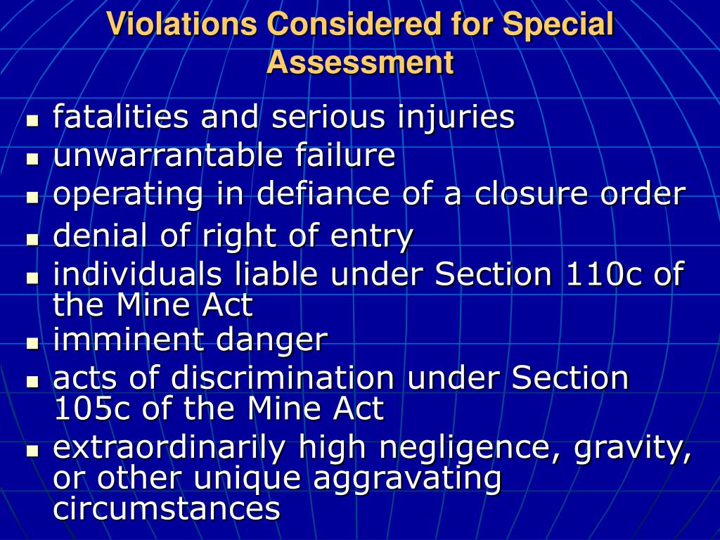 Violations Considered for Special Assessment