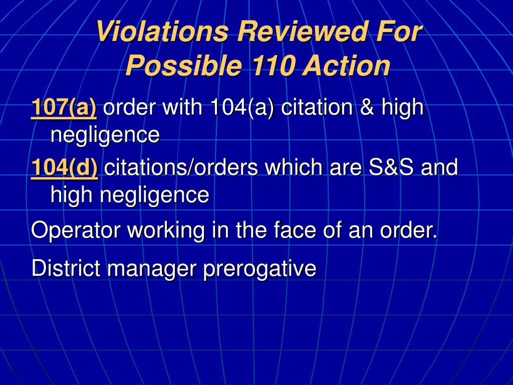 Violations Reviewed For Possible 110 Action