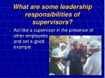 what are some leadership responsibilities of supervisors