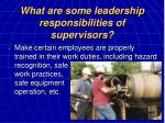 what are some leadership responsibilities of supervisors16