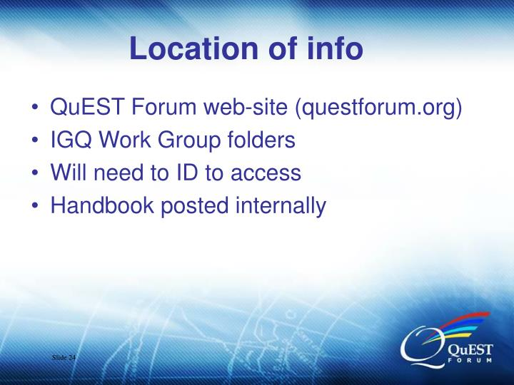 Location of info