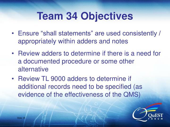 Team 34 Objectives