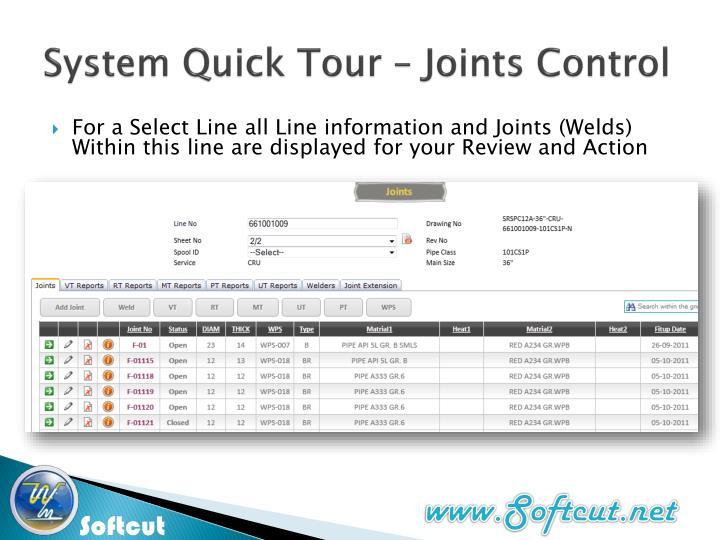 System Quick Tour – Joints Control