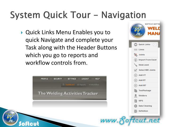 System Quick Tour - Navigation