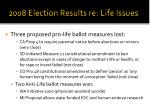 2008 election results re life issues