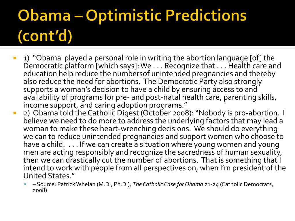 Obama – Optimistic Predictions (cont'd)