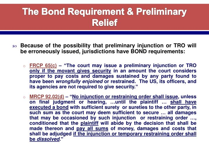 The Bond Requirement & Preliminary Relief