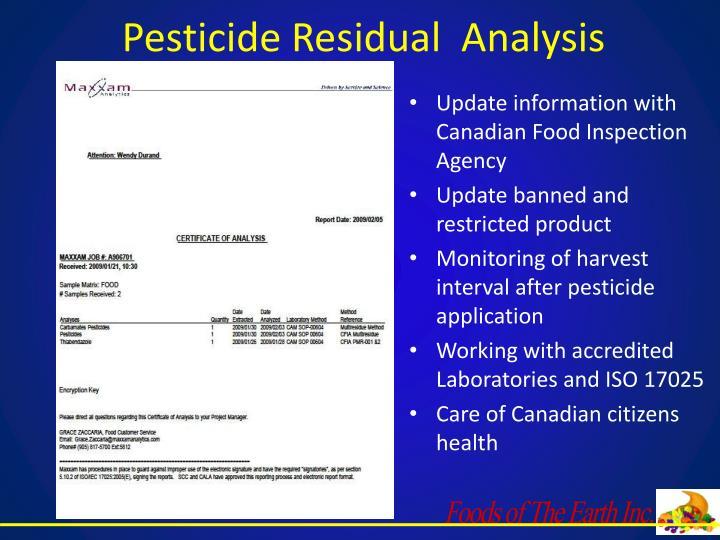 Pesticide Residual  Analysis