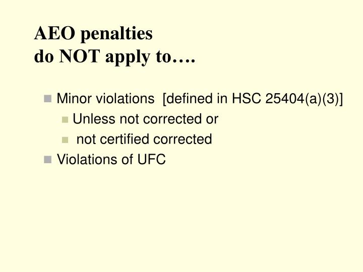 AEO penalties